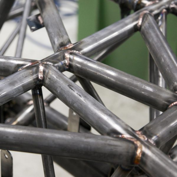 Detail of Grantura MkIII chassis, welded and ready for powder coating