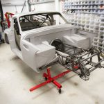 Grantura MkIII chassis with cage and body fitted.